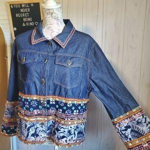 Boho Inspired Embroidered Jeans Jacket / Vintage I